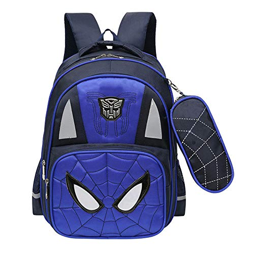 Kid Backpack Waterproof Spiderman Kindergarten Elementary Student Child Book Bag Snack Nursery School Bag for Boys with Pencil Case (Blue, 12.2''x17.3''7.1'')