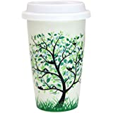 12 oz Coffee Cup, Simple Trees Double Insulated Ceramic Mug with White Silicone Lid for Coffee Milk Tea Drink, Leafy Tree