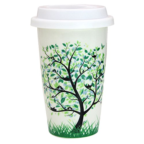 12 oz Coffee Cup, Simple Trees Double Insulated Ceramic Mug with White Silicone Lid for Coffee Milk Tea Drink, Leafy Tree ()