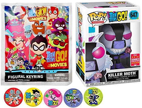 Funko Moth GO Movies DC Blackfire Go Teen Titans Killer Character Exclusive Figure Bundled with Blind Bag Figural Keychain Adventure Cartoon Toy Super Action Stickers! Starfire / Beastboy & Cyborg (Teen Titans Toy Beastboy)