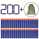 100 nerf gun bullets - Apluses Compatible Darts | 200 PCS Refill Pack Soft Foam Bullets for Nerf | N-Strike Elite Series Blasters Toy Gun Ammo | Blue with Storage Bag