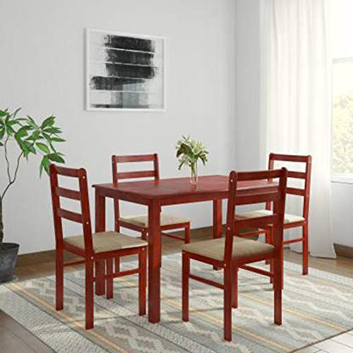 Woodness Winston Solid Wood Upholstered 4 Seater Basic Dining Table Set  Mahogany