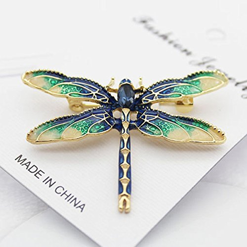 0b80692a3 TOOGOO Dragonfly Brooches for Women Green Enamel Insect Dragonfly Brooch  Men Suit Dress Pin and Brooches: Amazon.co.uk: Jewellery
