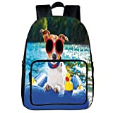 """Vogue Pressure Relief Spine Bag,Funny,Jack Russell Dog with Sunglasses Sitting on The Lake Beach Puppy at Beach Picture,Multicolor,for Children,3D Print Design.15.7""""x 11.8""""x 6.3"""""""