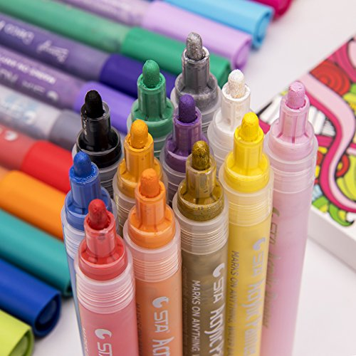 Acrylic Paint Markers - Medium Point Art Permanent Paints Pens For Glass painting, Ceramic, Rock, Metal, Wood, Fabric, Canvas - Works on Most Surfaces - Pack of 12