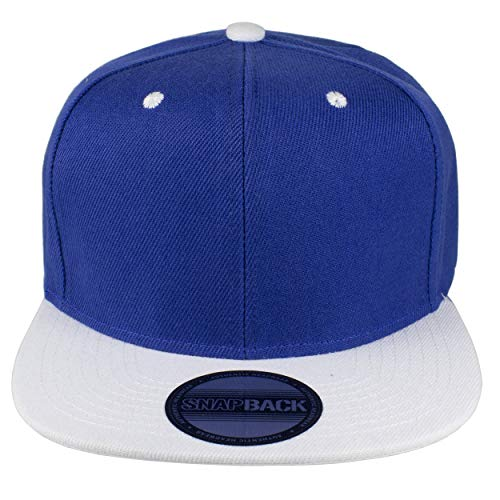 Gelante Plain Blank Flat Brim Adjustable Snapback Baseball Caps Wholesale LOT 12 Pack (Royal/White)]()