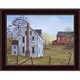 Morning Has Broken by Billy Jacobs 15x19 Farm House Red Barn Flowers Sunrise Robin Primitive Folk Art Framed Print Picture