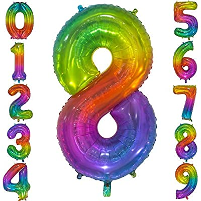Tellpet Number 8 Balloon, 8th Birthday Girl Party Decorations, Rainbow Front Silver Back, 40 Inch: Toys & Games