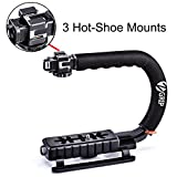 Zeadio Triple Hot-Shoe Mounts Handheld Stabilizer, Video Stabilizing Handle Grip for Canon Nikon Sony Panasonic Pentax Olympus DSLR Camera / Camcorder