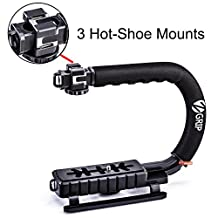 Zeadio Triple Hot-Shoe Mounts Handheld Stabilizer, Video Action Handle Grip for Canon Nikon Sony Panasonic Pentax Olympus DSLR Camera / Camcorder