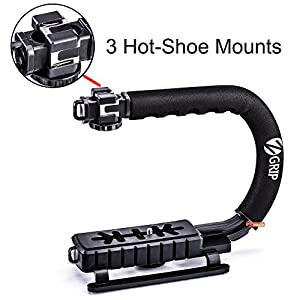 Zeadio Triple Hot-Shoe Mounts Handheld Stabilizer, Video Stabilizing Handle Grip for Canon Nikon Sony Panasonic Pentax Olympus DSLR Camera / Camcorder