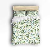 4Pieces Home Comforter Bedding Sets Duvet Cover Sets Bedspread for Adult Kids,Flat Sheet,Shams Set,Green Plants Cactus Flower Queen Size