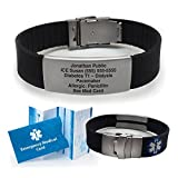 Silicone Sport Medical Alert ID Bracelet - Black (Incl. 5 lines of custom engraving). Choose Your Color! -