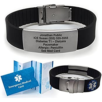 alert medical mens personalised bracelet steel engraved personalisedengraved leather stainless