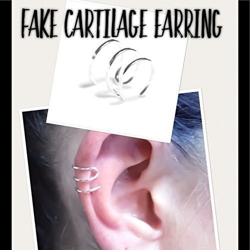 Triple Hoop Ear Cuff Fake/Faux Cartilage Earring NO PIERCING REQUIRED! 925 Sterling Silver or 14k Yellow/Rose Gold Filled