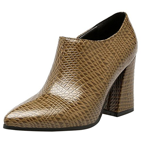 Zapatos Moda Brown Botines Tacon RAZAMAZA Mujer Tobillo Ancho nYwOxgZU