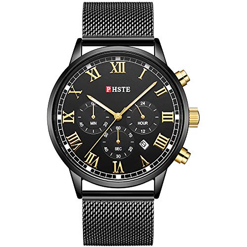 PHSTE Mens Chronograph Watch Analog Quartz with Date Roman Numeral Luminous Waterproof Black Face Steel Mesh Band Casual Dress Wrist Watches