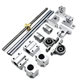 Mergorun 200mm Horizontal Optical Axis & 8mm Lead Screw Dual Rail Shaft Support Pillow Block Bearings & Flexible Shaft Coupling for digital coordinate measuring equipment Set of 15