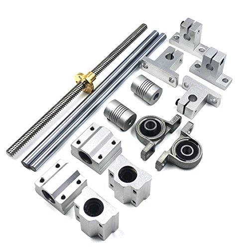 (Mergorun 200mm Horizontal Optical Axis & 8mm Lead Screw Dual Rail Shaft Support Pillow Block Bearings & Flexible Shaft Coupling for digital coordinate measuring equipment Set of 15)
