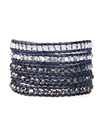 KELITCH Fashion Color Crystal Mix Beaded 5 Wrap Bracelet On Natural Leather Handmade New Women Jewelry