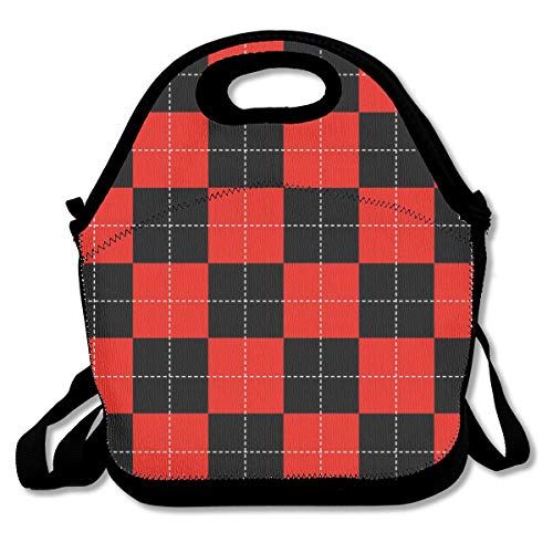 Lcokin Dotted Red Checkerboard Cute, Thermal,Insulation Lunch Bag - Reusable Work and School Lunch Handbags-Lunch Bags for Women, Men and - Rooster Checkerboard