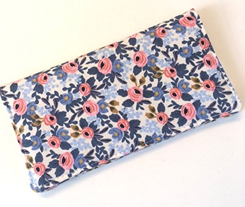 Metallic Checkbook Wallet - Checkbook Cover. Wallet. Receipt Holder - Rifle Paper Co. Rosa Periwinkle Les Fleurs.
