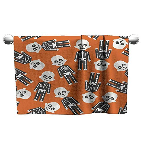 Andasrew Halloween Seamless Pattern with Skeleton,Suction Towel bar for Shower -