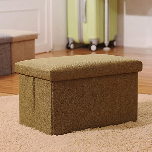 Linen Folding Organizer Storage Ottoman Bench Cube Foot Stool, Footrest Step Stool For Living Room, Bedroom, Office, Garden, Traveling, Fishing, Camping 16