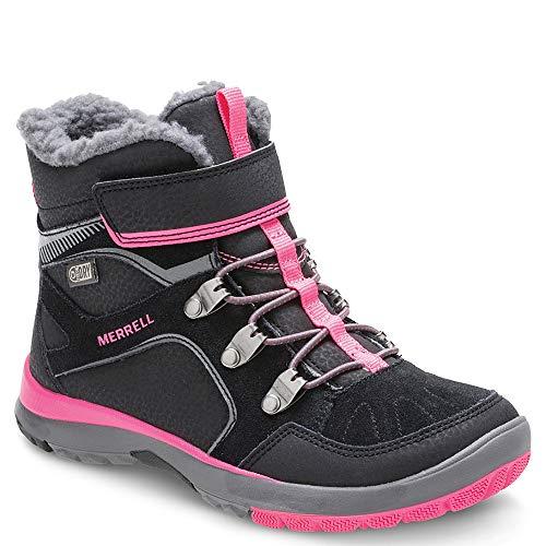 Merrell Boys' Moab FST Polar AC WTRPF Snow Boot, Black/Pink, 1 Medium US Toddler