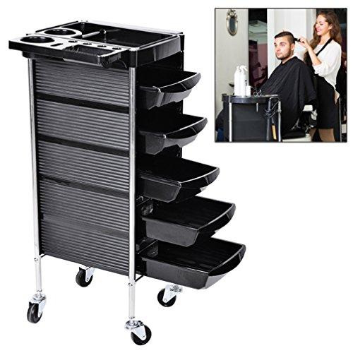 Hair Salon Instrument Storage Cart Adjustable Height Trolley Beauty Tools with 5 Drawers, Hair Salon Trolley Storage Tray Cart, Home Spa Hairdressing Rolling Trolley Black