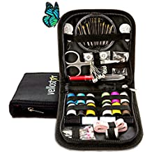 SEWING KIT for The Whole Family Equipped with the Most Useful & Practical SEWING ACCESSORIES for Home, Office, Travel, Beginners & Sewing Emergency, PREMIUM SEWING SUPPLIES for Mending & Sewing Needs (Black-Pack of 1)
