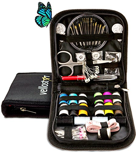 [SEWING KIT for Travel and Sewing Emergencies, Great for Beginners Useful at Home and Office PREMIUM SEWING SUPPLIES for Mending & Sewing Needs (Pack of 1, Black)] (Need Gift Basket Supply)