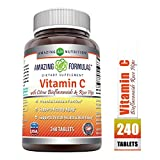 Amazing Formulas VitaminCwith Rose Hips and Citrus bioflavonoids-240Tablets-Non-GMO, Vegan - Promotes Immune Function* - Supports Healthy Aging* - Supports Overall Health & Well-Being*
