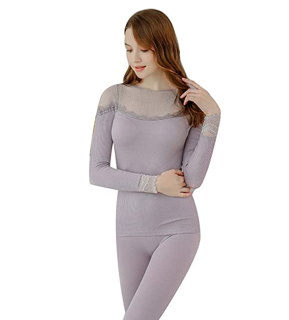 MWPT Ropa Térmica para Mujer Manga Larga Encaje Camiseta/Pantalón Conjuntos térmicos Ropa Interior térmica (Gris): Amazon.es: Ropa y accesorios