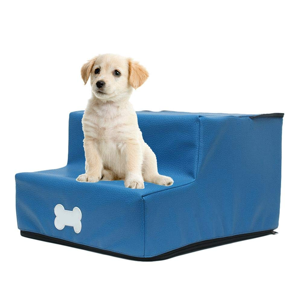 Switching Comes with Gloves for Grooming Pet Hair 2 Step Stairs Dog Steps Dog Stairs for Small Dogs Detachable Leather Fabric Easy to Clean
