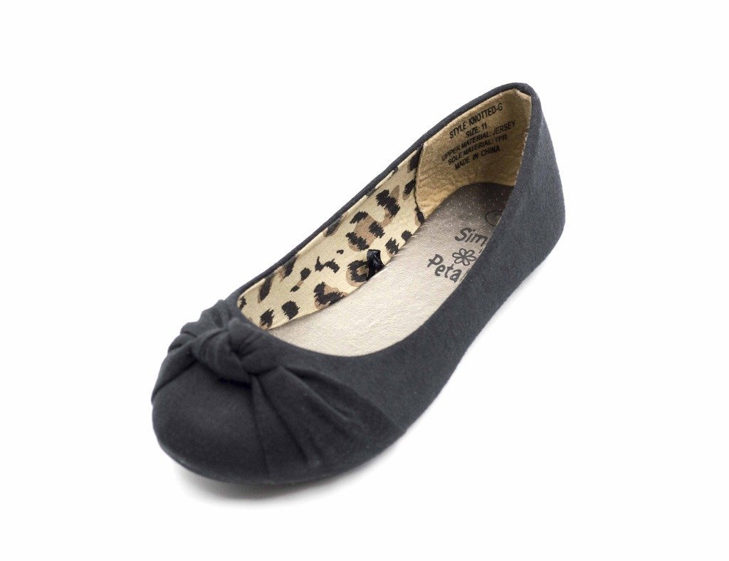 Simply Petals Casual Slip On Knotted Ballerina Flat (Toddler/Little Girl) New in Black Size: 2 Little Kid M