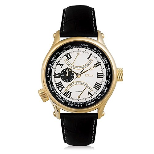 Daniel Steiger World Retrograde White Luxury Gold Watch - Water Resistant - Premium Grade Stainless Steel - Gold Finish - Multi-Function Dial - Genuine Leather Strap ()