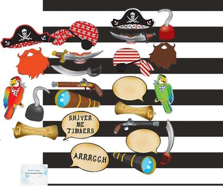 Pirate Photo Booth Props Backdrop Set - Pirate Party Supplies - Perfect Pirate Party Decorations! -