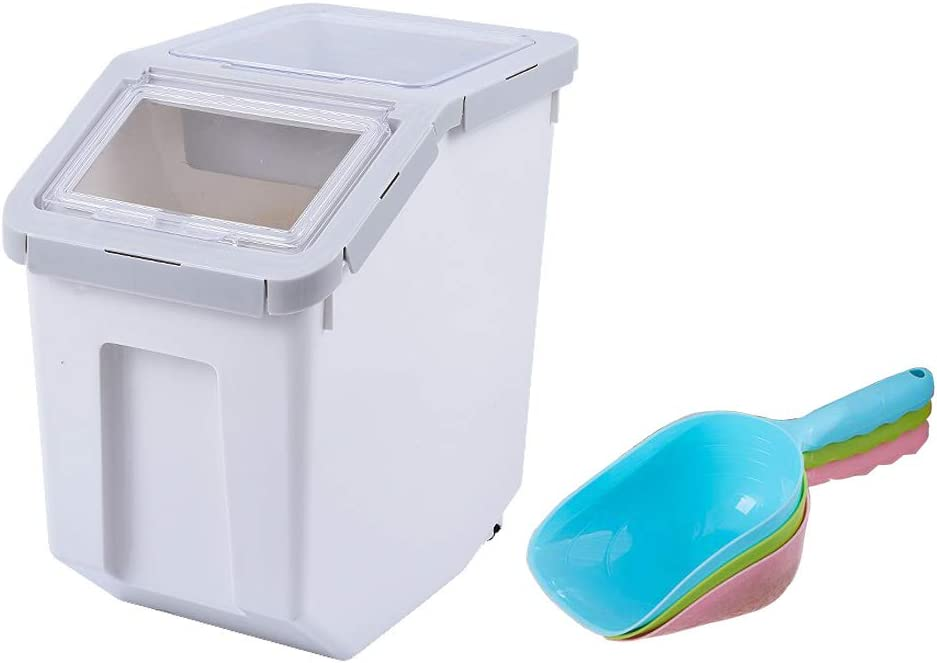 AnRui Rice Container Storage Airtight Plastic Food Holder Dispenser Cereal Grain Organizer Box Pet Dog Cat Food Bin with Locking Lid, Measuring Cup, Scoop & Wheels, 8-10kg Capacity, Grey, Large