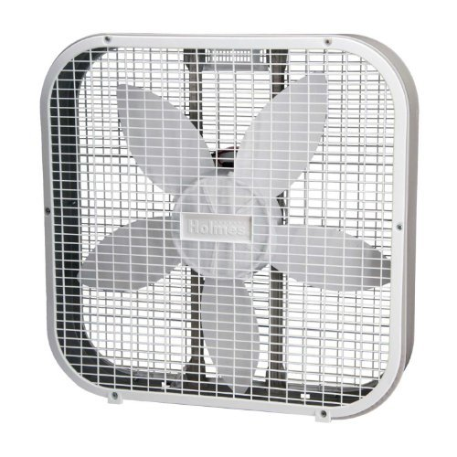 Holmes Weather Shield 20 Inch Metal Box Fan, White - A High