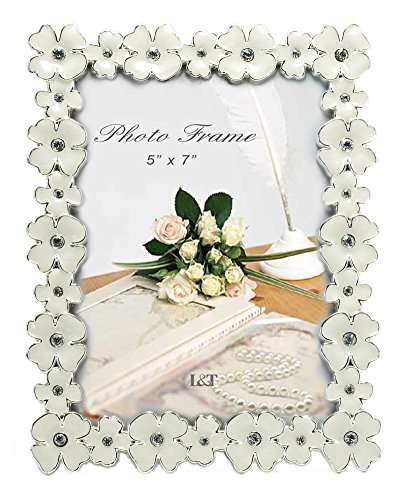 L&T Metal Picture Frame Silver Plated with Cream White Enamel and crystals, Floral Style 5 x 7 (Floral Enamel Frame)