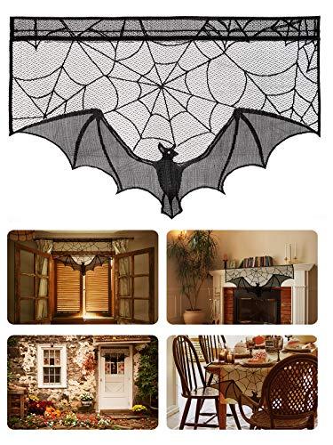 Cheap  ANPHSIN 2 Pieces Halloween Decoration Lace Cobweb Bats Fireplace Mantels Valances Covers
