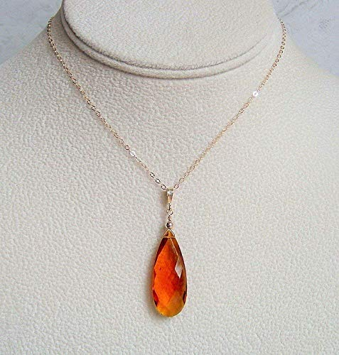 Golden Brown Large Simulated Imperial Topaz Pear Briolette Quartz Gold Filled 18 Inch Necklace Gift Idea