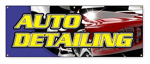 1.5 ft x 4 ft AUTO DETAILING BANNER SIGN car wash wax signs carwash detail automobil ()