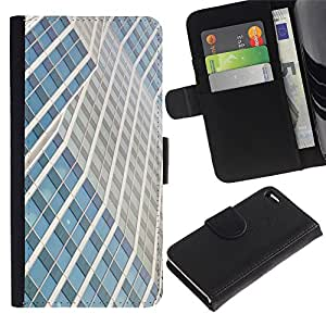 For Apple iPhone 4 / iPhone 4S,S-type® Building Lines City Skyscraper - Dibujo PU billetera de cuero Funda Case Caso de la piel de la bolsa protectora