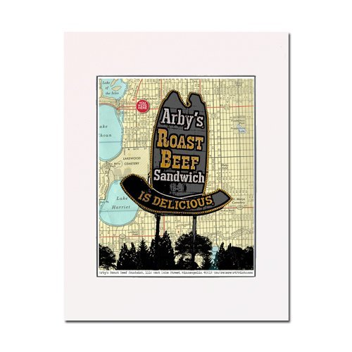 Minneapolis Arby's Roast Beef Sandwiches retro original signage architecture You Were Here art print Enhance your home or office Gallery quality Matted and ready-to-frame