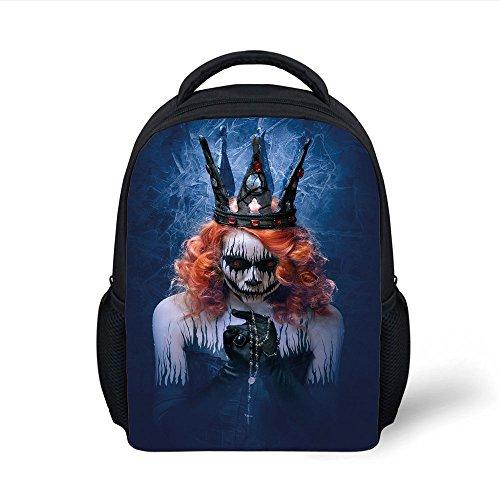 iPrint Kids School Backpack Queen,Queen Death Scary Body Art Halloween Evil Face Bizarre Make up Zombie,Navy Blue Orange Black Plain Bookbag Travel Daypack -