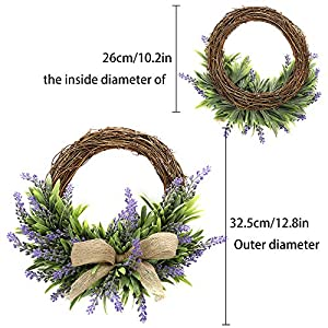 TRRAPLE Artificial Flower Decoration Wreath, 1 Pcs Simulation Lavender Wreath, Artificial Christmas Fake Flower Decoration Garland with Bow-Knot Ornament for Front Door Wall Mirror Window 2
