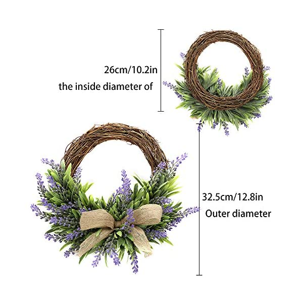 TRRAPLE-Artificial-Flower-Decoration-Wreath-1-Pcs-Simulation-Lavender-Wreath-Artificial-Christmas-Fake-Flower-Decoration-Garland-with-Bow-Knot-Ornament-for-Front-Door-Wall-Mirror-Window