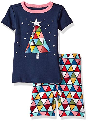 (Gymboree Baby Girls 2-Piece Tight Fit Short Sleeve Short Bottoms Pajama Set, Navy Stained Glass Tree, 12-18 Mo )